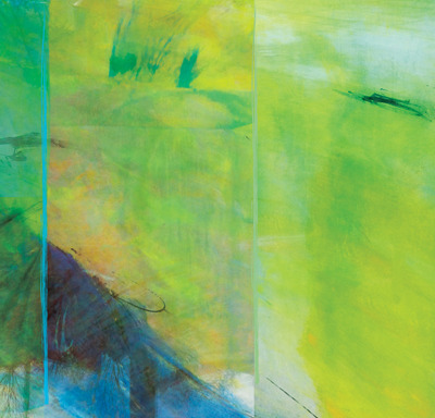 Laura Radwell-- Transit Depot 1, 48 x 24 in., abstract on metal panel -- $2,800.00