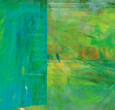 Laura Radwell-- Transit Depot 2, 48 x 24 in., abstract on metal panel -- $2,800.00